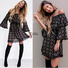 Women's Off Shoulder Slash Neck Flare Sleeve Ruffles Print Casual TXWD