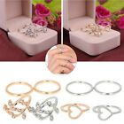 4x Gold Silver Urban Stack Plain Above Knuckle Cute Leaves & Crystal Midi Rings