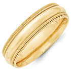 14K Yellow Gold 6mm Double Milgrain Wedding Band Comfort Fit Ring Sizes 4 - 14