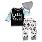 0-2Y Newborn Baby Boys Girls Kids T-shirt Top+Long Pants Outfit Clothes Set Hat