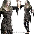 CA63 Living Dead Womens Halloween Zombie Gory Scary Horror Dress Up Costume,