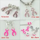 New Lot Czech Crystal Enamel Breast Cancer Awareness Ribbon European Charm Beads