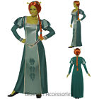 CA71 Womens Princess Fiona Green Shrek Fancy Dress Tudor Medieval Costume + Wig