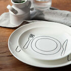 2 PCS x Modern Dinner Plates Spoon Fork Dishes Dinnerware Plate Sets Round NEW