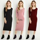 Women Ladies Long Sleeve Bodycon Solid Evening Sexy Party Cocktail Midi Dress