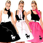 Rock and Roll Poodle Skirt Ladies Fancy Dress 50s 60s Adults Womens Costumes New