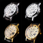 Skeleton Mens Womens Leather Band Stainless Steel Dial Wrist Watch Wristwatch