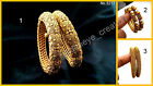 2pcs Golden Polki Filigree Pearl Bollywood Openable Metal Bangle Kada Set~Diwali