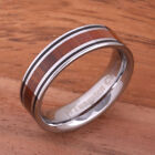 Koa Wood Tungsten Ring with Two Lines Wedding Ring 6mm TIP187-6 image