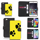pu leather wallet case for many Mobile phones - yellow dual paw