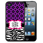 PERSONALIZED RUBBER CASE FOR iPHONE 5S 5C SE 6 6S 7 PLUS ZEBRA HOT PINK PURPLE