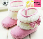 Pink baby toddler winter boots with bow white fur - pre walkers by Moshi Babies