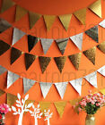 Glitter Gold Silver Party BUNTING Banner Flags Birthday Wedding Garland Deco
