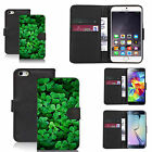 pu leather wallet case for many Mobile phones - green clover