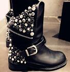 Womens Motorcycle Punk Rivets Leather Riding Calf Boots Biker Back Zip Shoes Hot