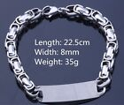MENS NEW STAINLESS STEEL CURB CHUNKY LINKS BRACELET CHAIN WITH ID TAG GIFT HIM