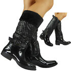 Womens Ladies Mid Calf Quilted Buckle Low Heel Fur Patent Wellington Boots Size