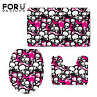 Skull Fashion Bathroon Pedestal Rug,Lid Toilet Cover,Bath Mat Carpet 3pcs Set
