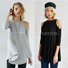 Sexy Women Long Sleeve Cotton Off Shoulder Loose T Shirt Blouse Casual Tops New