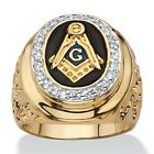 PalmBeach Jewelry .31 TCW Enamel and CZ 14k Gold-Plated Masonic Nugget Ring