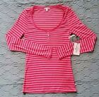 JUICY COUTURE Women Burnout Striped Rhinestone Henley Long Sleeve Top Pink L XL