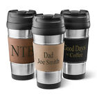 STAINLESS STEEL TRAVEL MUG COFFEE TUMBLER w/ Personalized Leatherette Holder