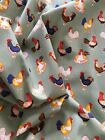 Rose & Hubble Chicken Hens Roosters 100% Cotton Poplin Fabric Choice of Lengths