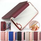 Shockproof Flip Leather+Soft Plating Clear Back Case Cover For iPhone 6S 7 Plus