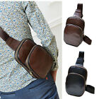 Men's Leather Chest Sling Pack Shoulder Bag Small Casual Cycle Biker Satchel