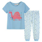 Pyjamas Baby Girls Summer Long 2 pc Pjs Set (sz 0-2) Sky Blue Sleeping Dinosaur