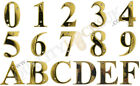 Beautiful 3 Inch Bevelled Edge Polished Gold Door Numbers 0 - 9 & Letters A - F