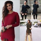 Women Lady Girl Long Sleeve Side Slit Tassel Knitwear Pullover Hot Sweater