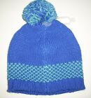 OLD NAVY Girls Hat Size 4T 5T Sweater Knit Pom Pom Beanie Toddler Blue NEW