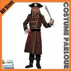 Mens Pirates Of The Caribbean Jack Sparrow Captain Pirate Costume All Sizes