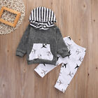 Airplanes Newborn Toddler Kids Boy Girl Hooded Tops +Pants Outfits Set Clothes