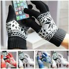 Ladies Mens Touch Screen Smart Knitted Gloves Fairisle Snowflake Design Warm