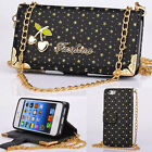Fashion Lady Cheery Leather Card Wallet Case With Gold Chain  For iPhone 5 5S 5C