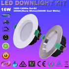 4/6X 16W DIMMABLE LED DOWNLIGHT KITS SMD 90-100MM CUTOUT WHITE/ SATIN CHROME
