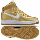 Nike Air Force 1 High Retro QS 823297-700 Metallic Gold/White Leather Men Shoes