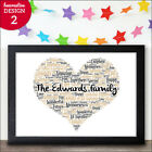 Personalised Our Family Word Art Gift Bespoke Family New Home Love Heart Print