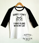 Sorry I Can't I Have Plans With My Cat T-Shirt Funny Cat Person Shirts Ralgan
