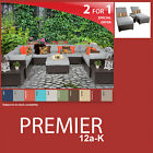 Premier 15 Piece Outdoor Wicker Patio Package PREMIER-12a-K - Grey