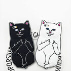 3D White/Black Cat Cartoon Cover Soft Silicone Case Back For Apple iPhone