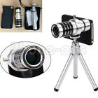 12X Optical Zoom Telescope Camera Lens Mini Tripod +Back Case For iPhone Samsang
