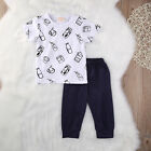 Newborn Baby Girls Boys Cotton T-shirt Tops+ Long Pants Outfits Clothes Playsuit
