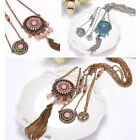 New Women Blue&Pink Three-layers Resin Beads Tassel Flowers Pendant Necklace