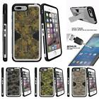 """For Apple iPhone 7 (4.7"""") Clip + Tempered Glass Silver Case Abstract Camo"""