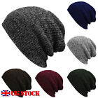 UK Corchet Slouch Beanie Skater Hat Womens Unisex Baggy Warm Woolly Knitted Cap