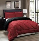 Down Alternative, Red and Black Reversible Comforter Set, Twin Full/Queen King
