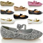 NEW WOMENS PUMPS FLAT BOW GLITTER LADIES BALLET BALLERINA DOLLY BRIDAL SHOES 3-9